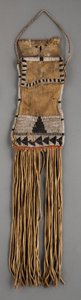 American Indian Art:Beadwork and Quillwork, An Apache Beaded Hide Tobacco Bag...