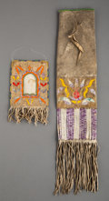 American Indian Art:Beadwork and Quillwork, Two Sioux Quilled Hide Items ... (Total: 2 )