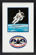 Explorers:Space Exploration, Bruce McCandless Signed STS-41-B Untethered Spacewalk Color Photo Matted and Framed with and Embroidered Mission Insignia Pat...
