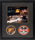Explorers:Space Exploration, Apollo 13: NASA Mission Control Color Photo Signed by Gene Kranz (with Added Quote) Matted and Framed with Embroidered Missio...