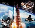 Explorers:Space Exploration, Mercury Seven Astronauts: Limited Edition Color Print Signed by Carpenter, Cooper, Glenn and Schirra, #49/90, from the Astrona...