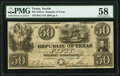 Austin, TX- Republic of Texas $50 Jan. 15, 1840 Cr. A7 Medlar 27 PMG Choice About Unc 58