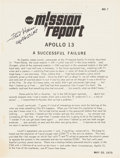 "Explorers:Space Exploration, Apollo 13 ""NASA Mission Report"" Signed by Fred Haise. ..."