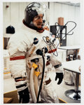 Explorers:Space Exploration, James Lovell Signed Apollo 8 White Spacesuit Training Color Photo. ...