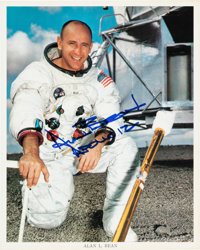 Apollo 12: Alan Bean Signed White Spacesuit Color Photo