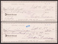 Autographs:Checks, Ted Williams Signed Checks, Lot of 2....