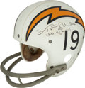 Football Collectibles:Helmets, 1973 Johnny Unitas Game Worn & Signed San Diego Chargers Helmet Photomatched to 9/23/73 Game vs. Buffalo Bills - Final NFL Win...