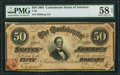 Confederate Notes:1864 Issues, T66 $50 1864 PF-5 Cr. 498 PMG Choice About Unc 58 EPQ.. ...
