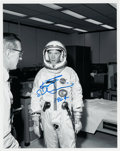 Explorers:Space Exploration, Rusty Schweickart Signed White Spacesuit Photo. ...