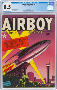 Airboy Comics V6#8 (Hillman Fall, 1949) CGC VF+ 8.5 White pages