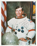 Explorers:Space Exploration, John Young Signed White Spacesuit Color Photo. ...