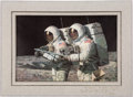 """Explorers:Space Exploration, Alan Bean Signed Limited Edition """"Helping Hands"""" Print, #80/850, in Framed Display. ..."""
