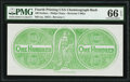 Miscellaneous:Other, Confederate Chemicograph Fourth Printing Reverse 1 Back $100 circa 1957-58 Bertram C465a PMG Gem Uncirculated 66 EPQ.. ...