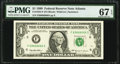 Near Solid Serial Number 69666666 Fr. 1924-F $1 1999 Federal Reserve Note. PMG Superb Gem Unc 67 EPQ