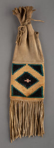 American Indian Art:Baskets, A Plateau Woman's Tobacco Bag hide, natural co...