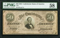 Confederate Notes:1864 Issues, T66 $50 1864 PF-5 Cr. 498 PMG Choice About Unc 58.. ...