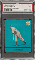 Baseball Cards:Singles (1940-1949), 1941 Goudey Vito Tamulis (Blue) #17 PSA NM 7 - Pop One, None Higher! ...