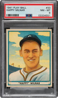 Baseball Cards:Singles (1940-1949), 1941 Play Ball Happy Milnar #33 PSA NM-MT 8 - Only One Higher. ...