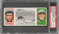 Baseball Cards:Singles (Pre-1930), 1912 T202 Hassan Chase Dives Into 3rd - Gibson/Clarke PSA NM-MT 8 - Pop One, None Higher. ...