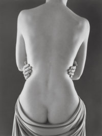 Ruth Bernhard (American, 1905-2006) Draped Torso with Hands, 1962 Gelatin silver, printed later 1