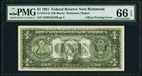 Full Face to Back Offset Error Fr. 1911-E $1 1981 Federal Reserve Note. PMG Gem Uncirculated 66 EPQ
