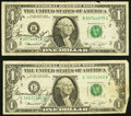 Small Size:Federal Reserve Notes, Francine I. Neff Courtesy Autograph Fr. 1908-B; E $1 1974 Federal Reserve Notes Fine.. ... (Total: 2 notes)