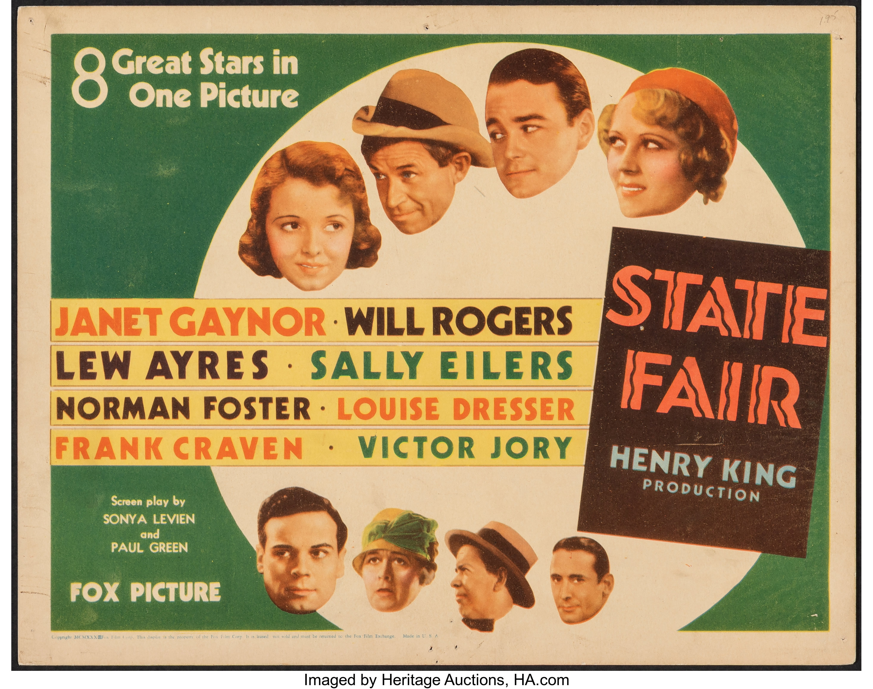 """State Fair (Fox, 1933). Fine/Very Fine. Title Lobby Card (11"""" X   Lot  #54423   Heritage Auctions"""