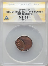 1969-D 1C Lincoln Cent -- Double Struck, Both Off Center, Chain Strike -- MS63 Red and Brown ANACS