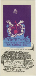 Music Memorabilia:Tickets, Booker T. and the MGs Carousel Ballroom Unused Ticket 6/14/19(1969). With It's A Beautiful Day and Tim Buckley. Great color...