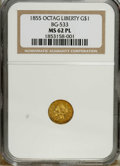 California Fractional Gold: , 1855 $1 Liberty Octagonal 1 Dollar, BG-533, Low R.4, MS62 NGC. NGCCensus: (2/0). PCGS Population (15/7). (#10510)...