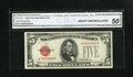 Fr. 1528* $5 1928C Legal Tender Star Note. CGA About Uncirculated 50. This is a lightly handled Star