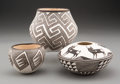 American Indian Art:Pottery, Three Acoma Black-On-White Jars... (Total: 3 )