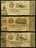 Austin, TX- Republic of Texas $1-$3. $1 18?? Cr. A1 Medlar 21 VG, CC repaired with many stamp hinges;