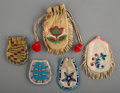 American Indian Art:Beadwork and Quillwork, Five Plains / Plateau Beaded Hide Pouches... (Total: 5 )