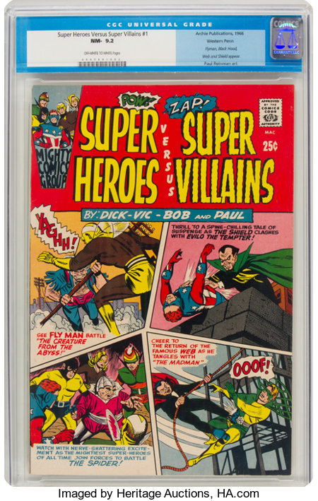 Super Heroes Versus Super Villains #1 Western Penn Pedigree (Archie, 1966) CGC NM- 9.2 Off-white to white pages....