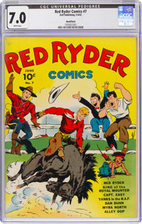 Red Ryder Comics #7 Rockford Pedigree (Dell, 1942) CGC FN/VF 7.0 White pages