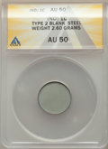 Errors, No Date 1C Type Two, Lincoln Cent -- Blank Steel Planchet -- AU50 ANACS. 2.60 Grams....
