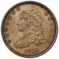 1835 10C MS64 PCGS. PCGS Population: (73/18 and 6/1+). NGC Census: (81/28 and 0/0+). CDN: $2,100 Whsle. Bid for NGC/PCGS...