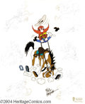 "Animation Art:Miscellaneous, Warner Brothers Productions -- ""Ride Em, Sam"" Hand Painted LimitedEdition Cel. (1994). Yosemite Sam holds on for dear life ..."
