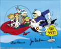 "Animation Art:Miscellaneous, Hanna Barbera Productions -- ""Speed Limit 5500"" Hand PaintedLimited Edition Cel. (1989). This gag scene with the Jetsons in..."