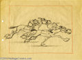 "Original Comic Art:Miscellaneous, Walt Disney Studios - ""Silly Symphonies"" Steeplechase AnimationDrawing Original Art (Walt Disney, circa 1930s). The race is..."