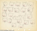 "Animation Art:Miscellaneous, Walt Disney Studios -- ""Lend A Paw"" Original Pencil Model Sheet. (1941). The Kitten is adopted into Pluto's house and he doe..."