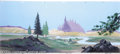 Animation Art:Miscellaneous, Filmation Productions -- Original Watercolor Background with TreeMiddleground Cel (1960s). This large pan background of a f...(Total: 2 items Item)