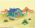 Animation Art:Miscellaneous, Hanna Barbera Productions -- Original Watercolor Background.(1960). This western shack in the desert is from the early 1960...