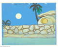 "Animation Art:Miscellaneous, Hanna Barbera Productions -- ""The Flintstones"" Original WatercolorBackground. (1960). The classic street scene was used in ..."