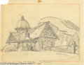 Animation Art:Miscellaneous, Warner Brothers - Original Pencil Layout Drawing. (1950s). ThisCottage layout shows a country cottage with unusual medieval...