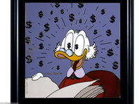 """Carl Barks and P. Vought - Uncle Scrooge """"Philosopher's Stone"""" Disneyana Ceramic Tile, Limited Edition AP #1/4..."""