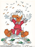 """Original Comic Art:Sketches, Don Rosa - Uncle Scrooge Sketch """"Money Toss"""" Sketch Original Art (undated). To quote Uncle Scrooge, """"No man is poor who can ..."""