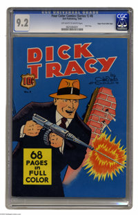 Four Color (Series One) Dick Tracy - Mile High pedigree #8 (Dell, 1940) CGC NM- 9.2 Off-white to white pages. Edgar Chur...
