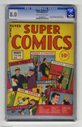 Memorabilia:Comic-Related, Super Comics #1 (Dell, 1938) CGC VF 8.0 Cream to off-white pages. Dick Tracy's run in Popular Comics came to an end with...